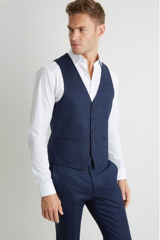 Moss London Skinny/Slim Fit Blue Twisted Waistcoat