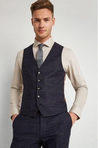 Moss London Skinny/Slim Fit Navy Check Waistcoat