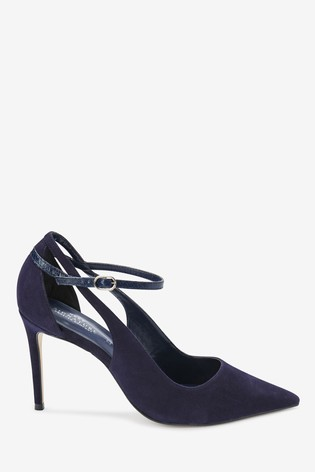 Navy Signature Leather Cut-Out Court Shoes