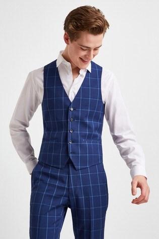 Moss London Skinny Fit Blue Check Waistcoat