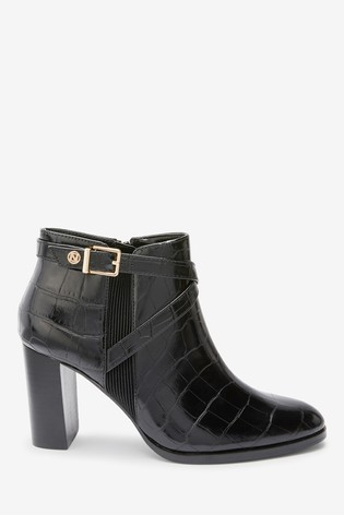 Black Croc Effect Forever Comfort® Hardware Ankle Boots