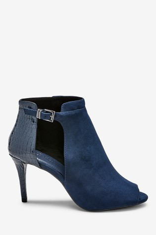 Navy Forever Comfort® Cut-Out Peep Toe Shoe Boots