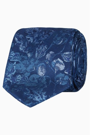 Jeff Banks Blue Tonal Floral Silk Tie
