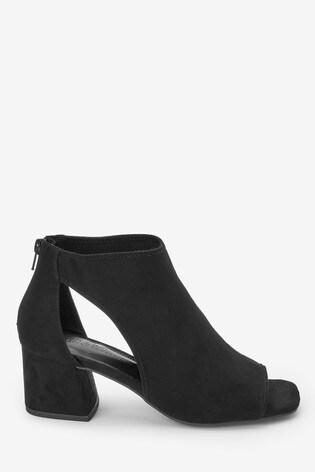 Black Low Cut Out Shoe Boots