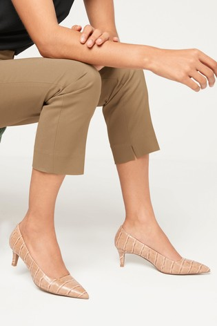 Camel Croc Effect Forever Comfort® Kitten Heel Court Shoes