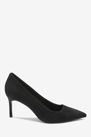 Black Suede Court Shoes