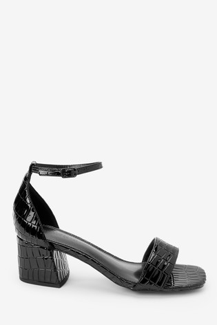 Black Croc Effect Regular/Wide Fit Forever Comfort® Simple Block Heel Sandals