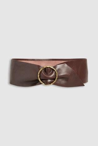 Chocolate Wide Leather Waist Belt