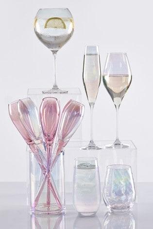 Paris Lustre Effect Set of 6 Flute Glasses & Bucket