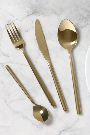 Gold Effect 16pc Cutlery Set