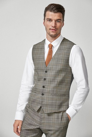 Taupe/Brown Check Suit: Waistcoat