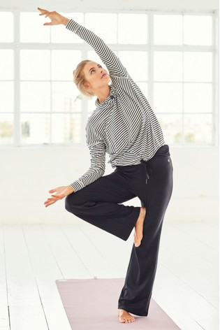 Black Roll Top Wide Leg Trousers