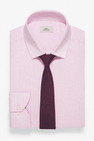 Pink Slim Fit Easy Iron Shirt with Burgundy Tie