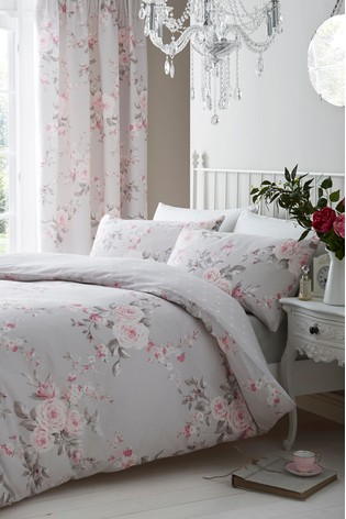 Catherine Lansfield Grey Canterbury Floral Duvet Cover and Pillowcase Set
