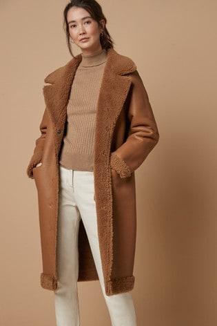 Ginger Leather Shearling Jacket