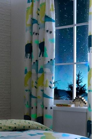 Bedlam Green/White Dino Glow In The Dark Curtains