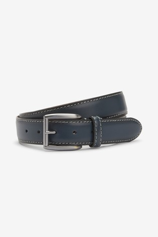 Navy Signature Italian Leather Belt