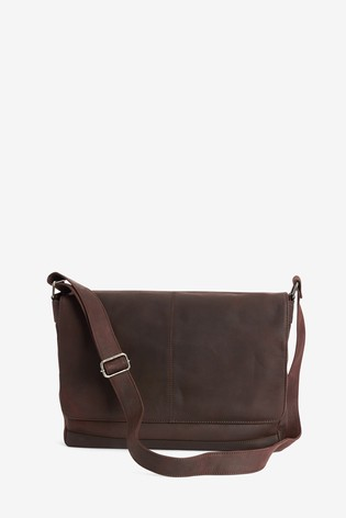 Brown Signature Leather Messenger