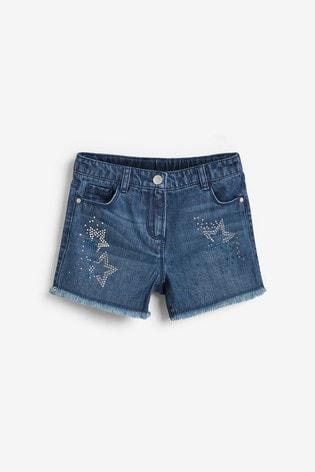 Denim Mid Blue Diamanté Star Shorts (3-16yrs)