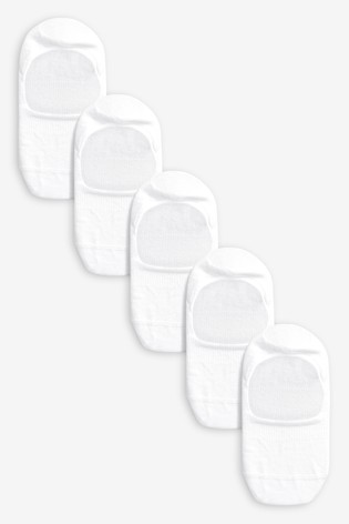 White Invisible Trainer Socks Five Pack