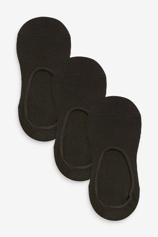 Black Mesh Footsies Three Pack