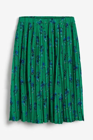 Green Floral Pleated Skirt (3-16yrs)