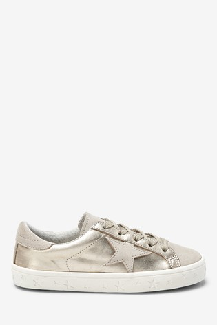 Buy Gold Metallic Star Lace-Up Trainers