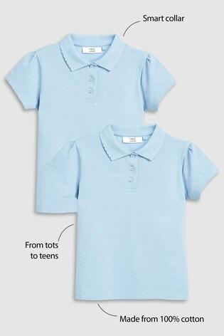 Blue 2 Pack Poloshirts (3-16yrs)