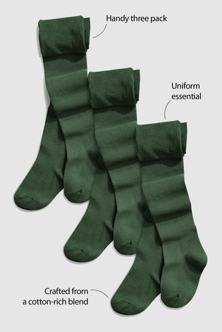Green 3 Pack School Tights