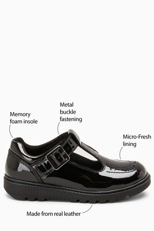 Black Patent Chunky T Bar Shoes (Older)