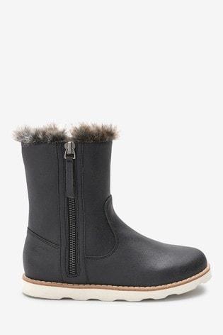 Black Faux Fur Trim Boots (Older)