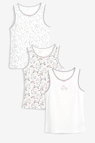 White 3 Pack Unicorn Vests (1.5-12yrs)