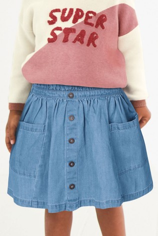 Light Wash Paperbag Button Through Denim Skirt (3mths-7yrs)
