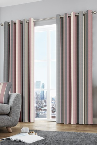 Fusion Pink Whitworth Stripe Lined Eyelet Curtains