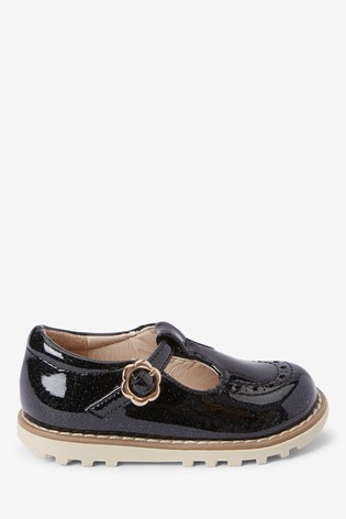 Black Chunky T-Bar Shoes (Younger)