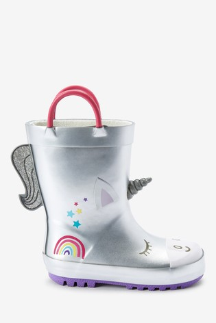 Silver Unicorn Handle Wellies (Younger)