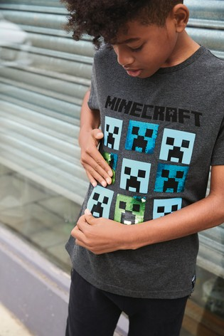 Charcoal Minecraft Sequin T-Shirt (4-14yrs)