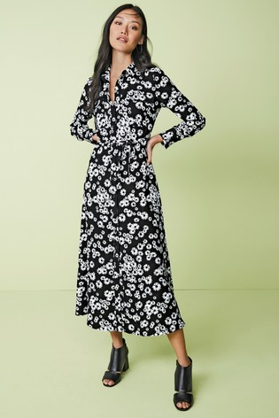 uk store best deals on promo codes Buy Black Floral Print Maxi Utility Long Sleeve Shirt Dress from ...
