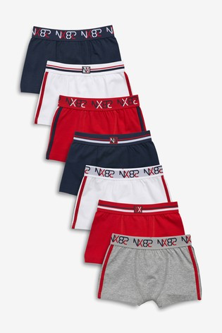 Red/Navy 7 Pack Sporty Trunks (1.5-16yrs)