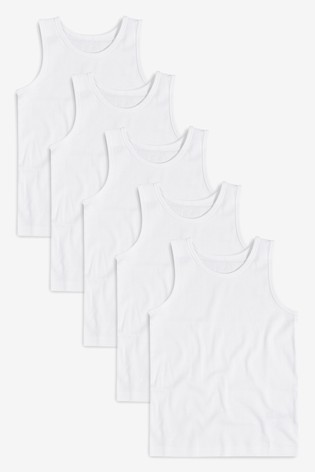 White 5 Pack Vests (1.5-16yrs)