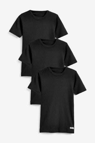 Black 3 Pack Rib T-Shirts (1.5-16yrs)