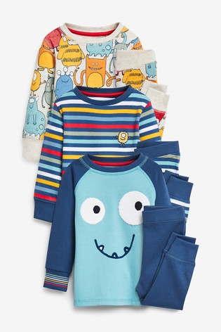 Multi 3 Pack Monster Pyjamas (9mths-8yrs)