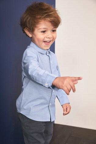 Blue Long Sleeve Oxford Shirt (3mths-7yrs)