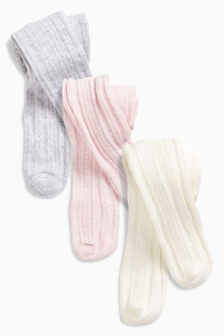 Pink/Grey/Cream 3 Pack Cable Tights (0mths-2yrs)