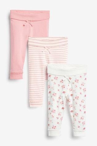 Pink/Floral/Stripe 3 Pack Leggings (0mths-3yrs)