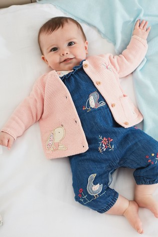 Denim Bunny Embroidered Dungarees And Floral Bodysuit Set (0mths-2yrs)