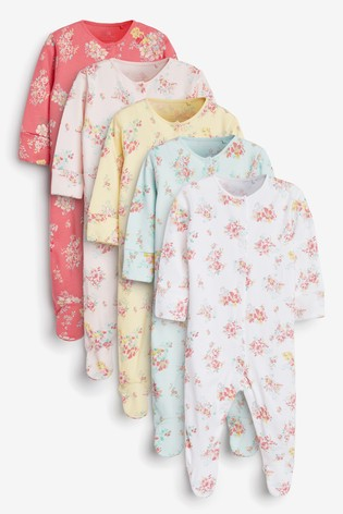 Ditsy Floral 5 Pack Sleepsuits (0-2yrs)