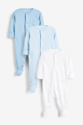 Blue/White 3 Pack GOTS Certified Organic Cotton Sleepsuits (0-2yrs)