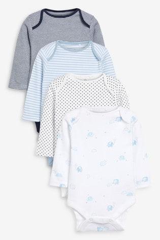 Blue/White 4 Pack Elephant Long Sleeve Bodysuits (0mths-3yrs)