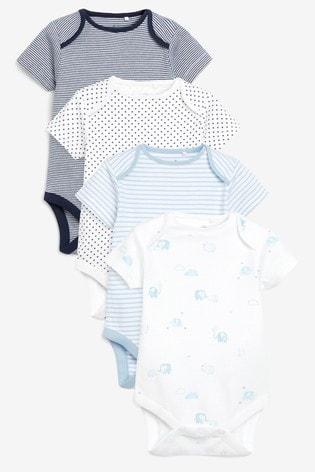 Blue/White 4 Pack Elephant Short Sleeve Bodysuits (0mths-3yrs)